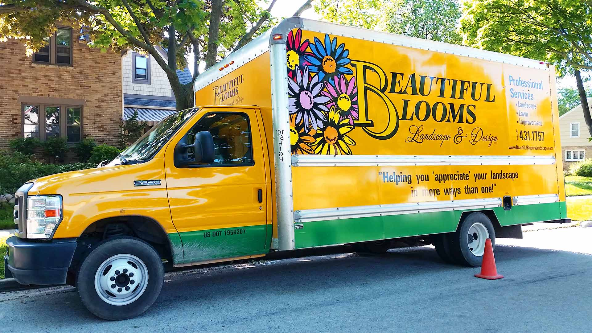 Beautiful Blooms, LLC has vehicles that are marked with the company's logo and colors when they arrive at our clients' homes.