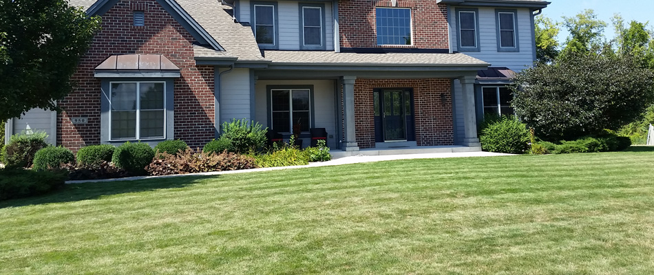 Regular lawn maintenance performed on this clients lawn located in Brookfield, Elm Grove.