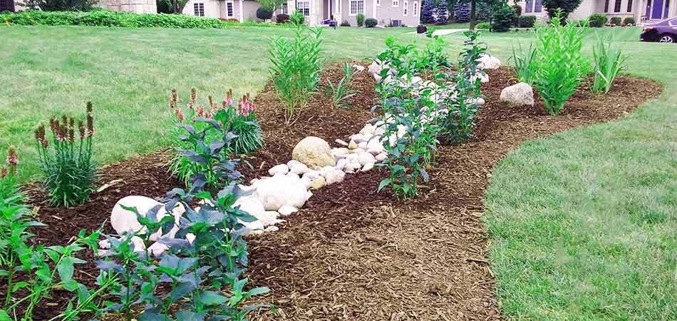 Organic mulch in a landscape bed with plantings near Wauwatosa, WI.