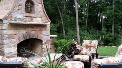 Newly built outdoor fireplace for a homeowner in Pewaukee, WI.