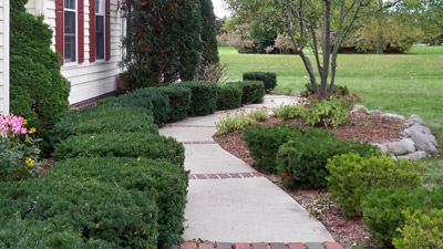 This homeowner in Pewaukee, WI is benefiting from landscape trimming services.